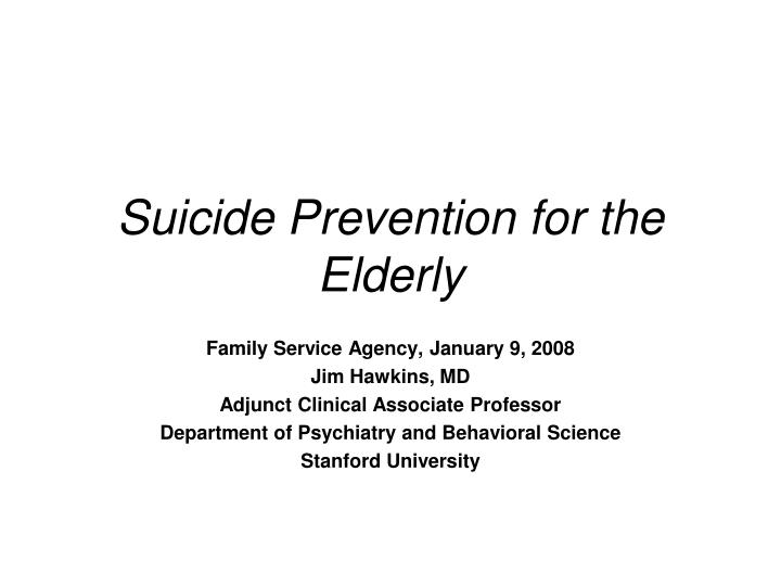 suicide prevention for the elderly n.
