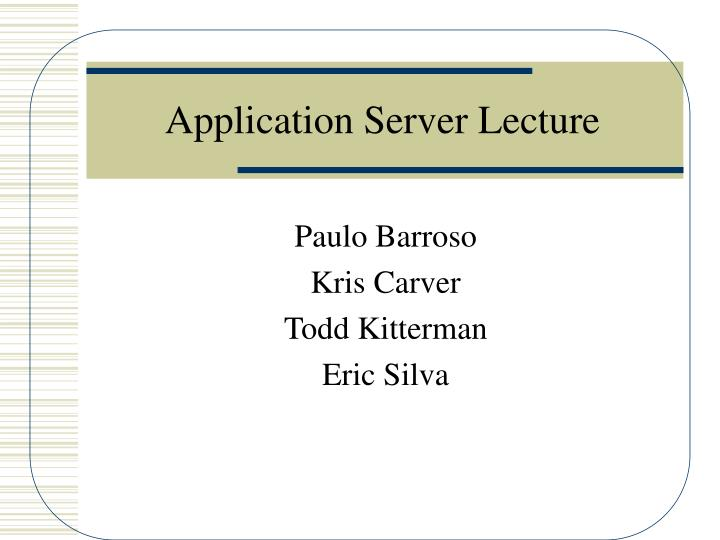 application server lecture n.