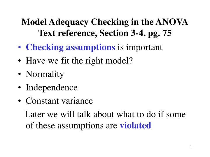 PPT - Model Adequacy Checking in the ANOVA Text reference