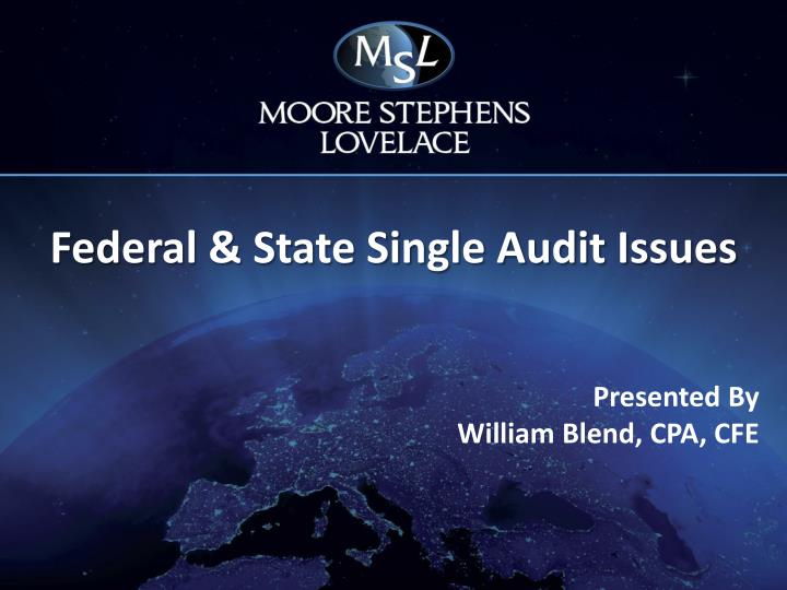 federal state single audit issues n.