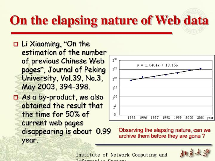 On the elapsing nature of web data