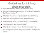 guidelines for thinking about research
