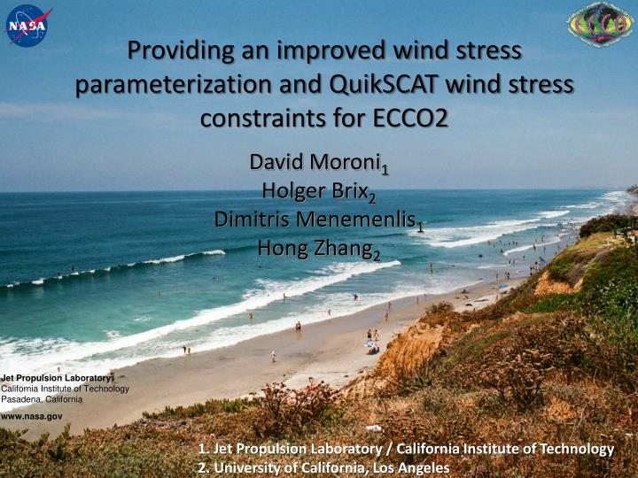 providing an improved wind stress parameterization and quikscat wind stress constraints for ecco2 n.