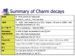summary of charm decays