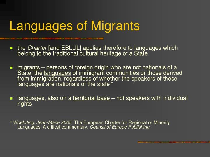 Languages of Migrants