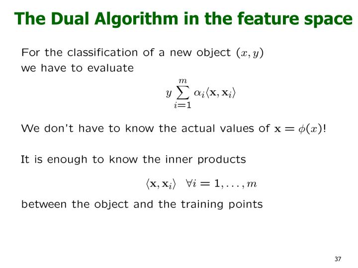 The Dual Algorithm in the feature space