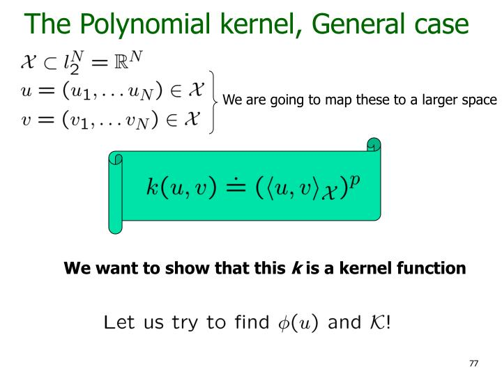 The Polynomial kernel, General case