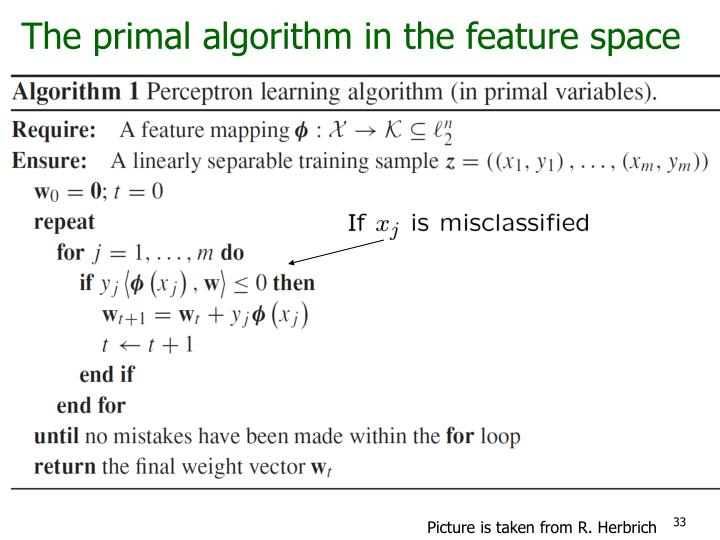 The primal algorithm in the feature space