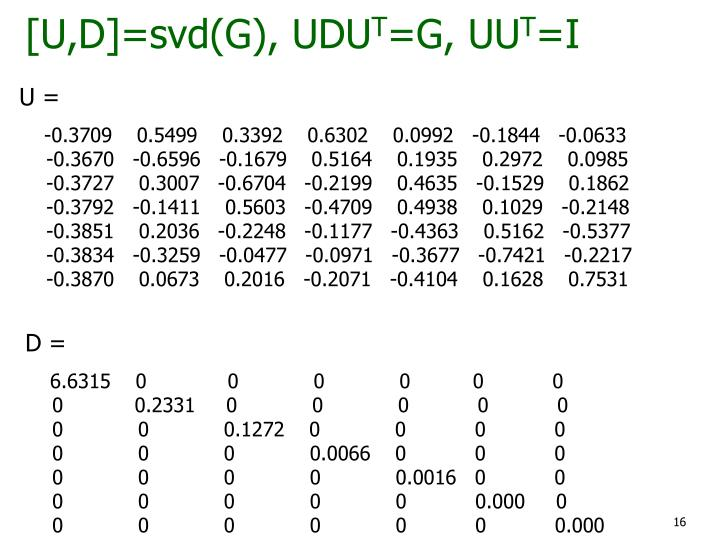 [U,D]=svd(G), UDU
