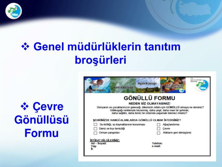 Genel müdürlüklerin tanıtım broşürleri