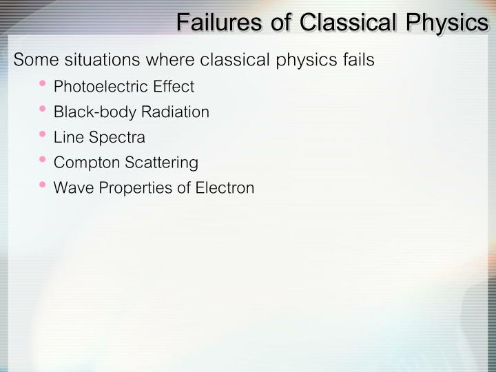 Failures of classical physics