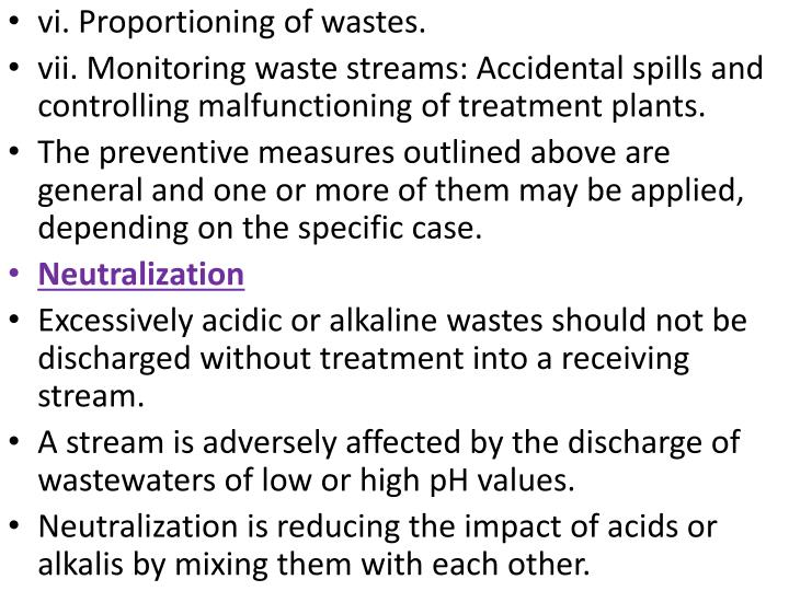 vi. Proportioning of wastes.
