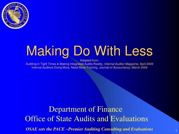 department of finance office of state audits and evaluations n.