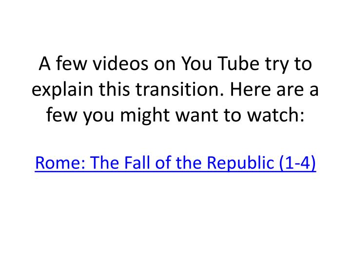 A few videos on You Tube try to explain this transition. Here are a few you might want to watch: