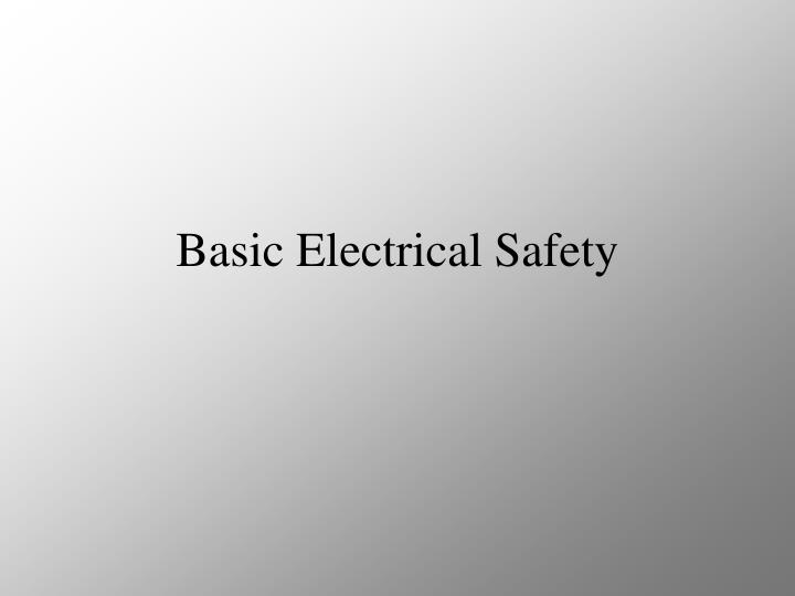 basic electrical safety n.