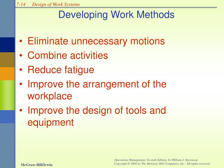 Developing Work Methods