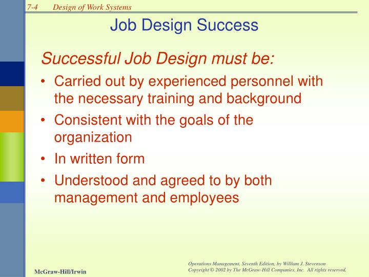 Job Design Success