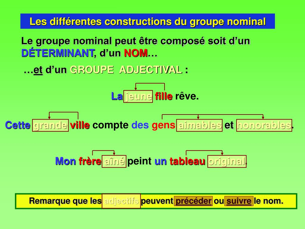 PPT - Le groupe nominal PowerPoint Presentation, free ...