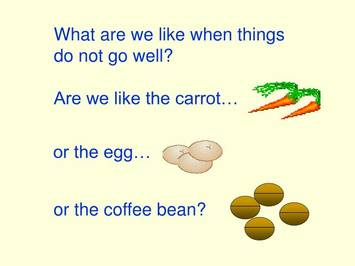 carrot egg and coffee bean essay Are you a carrot, and egg, or a cup of coffee a carrot, an egg, and a cup of coffee essay and in the last she placed ground coffee beans.