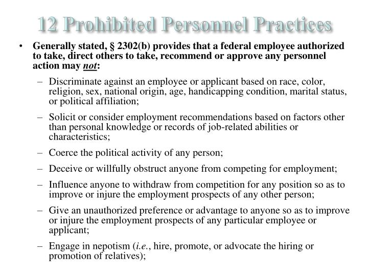 12 Prohibited Personnel Practices