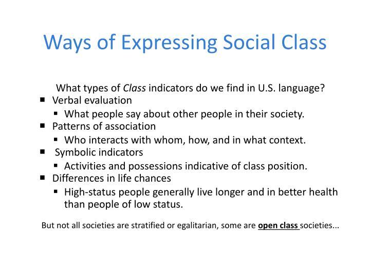Ways of Expressing Social Class