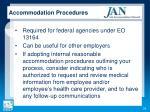 accommodation procedures