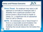 safety and fitness concerns