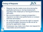 timing of requests
