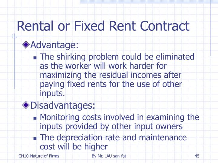 Rental or Fixed Rent Contract