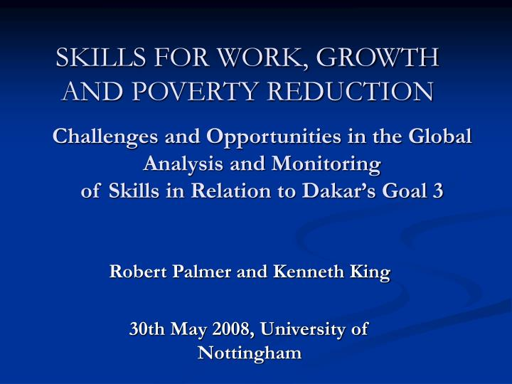 skills for work growth and poverty reduction n.