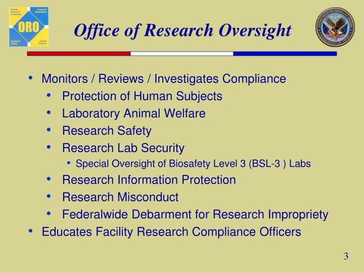 Monitors / Reviews / Investigates Compliance