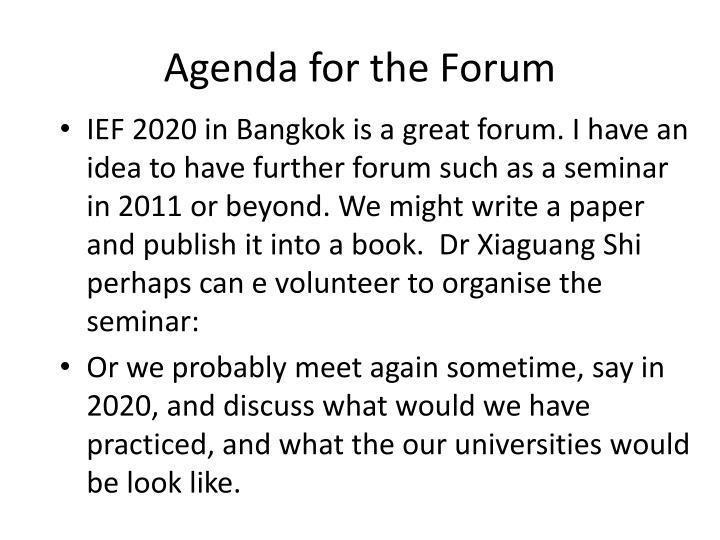 Agenda for the Forum