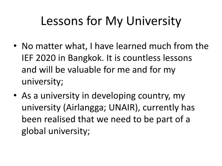 Lessons for My University