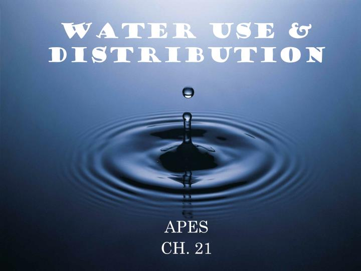 water use distribution n.