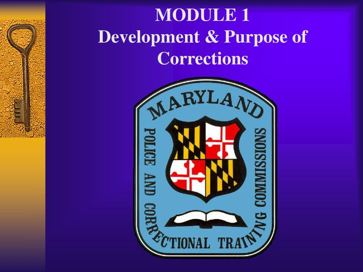 module 1 development purpose of corrections n.