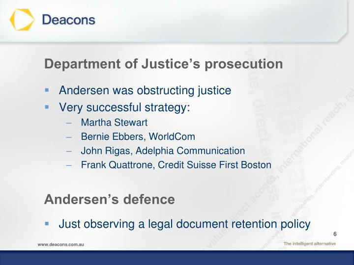 Department of Justice's prosecution