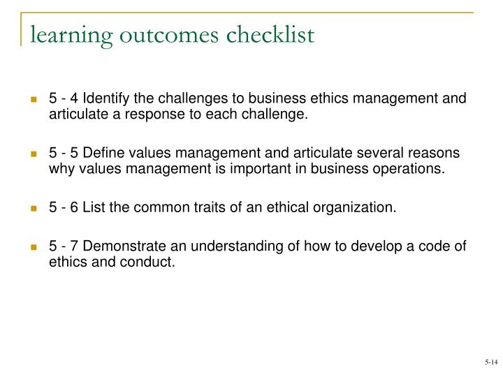 learning outcomes checklist