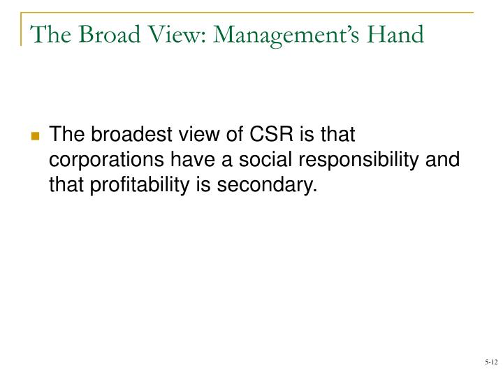 The Broad View: Management's Hand