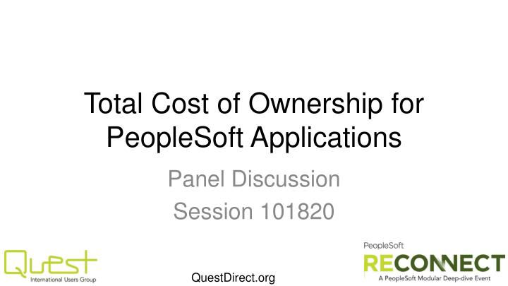 total cost of ownership for peoplesoft applications n.