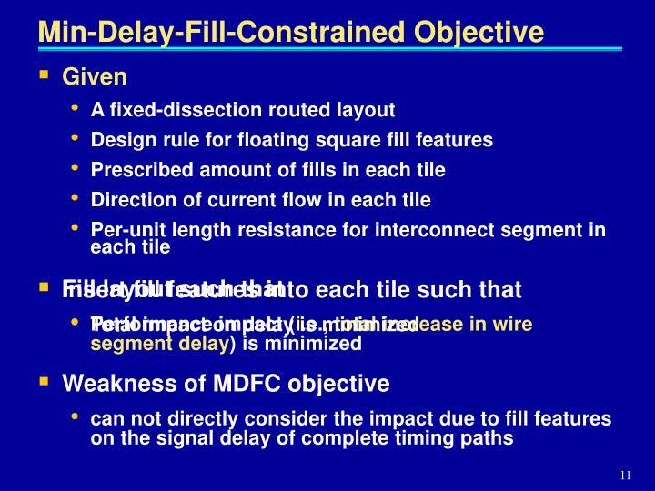 Min-Delay-Fill-Constrained Objective