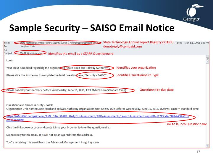 Sample Security – SAISO Email Notice