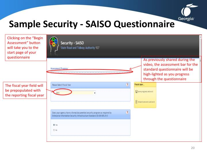 Sample Security - SAISO Questionnaire