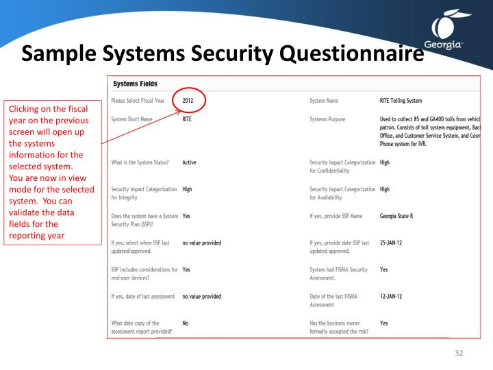 Sample Systems Security Questionnaire