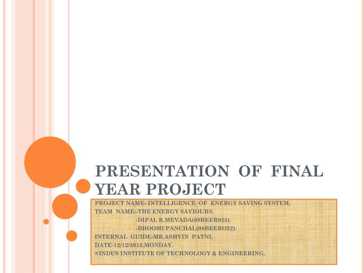presentation of final year project n.