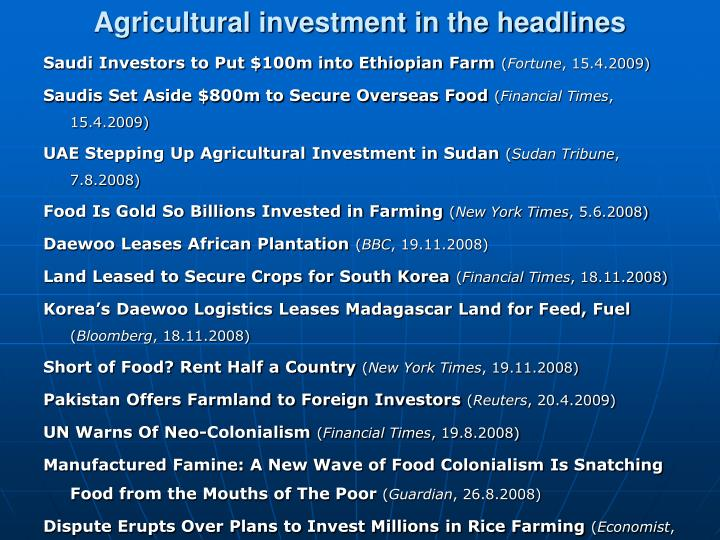 Agricultural investment in the headlines