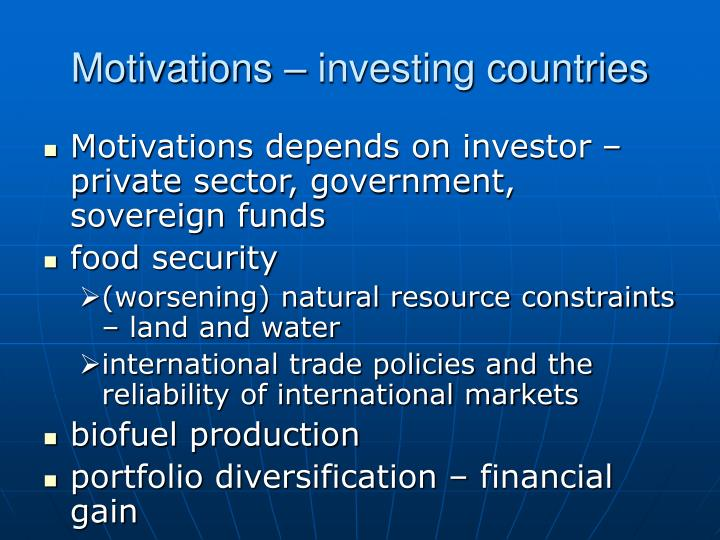 Motivations – investing countries