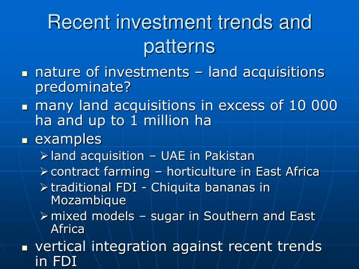 Recent investment trends and patterns
