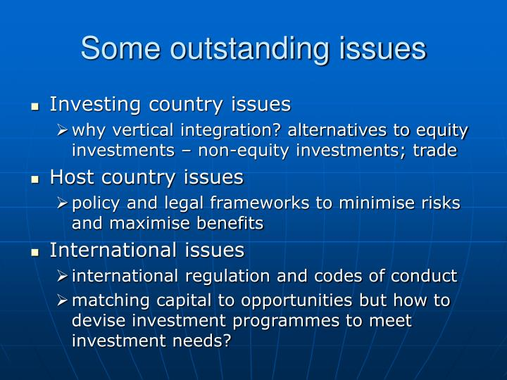 Some outstanding issues