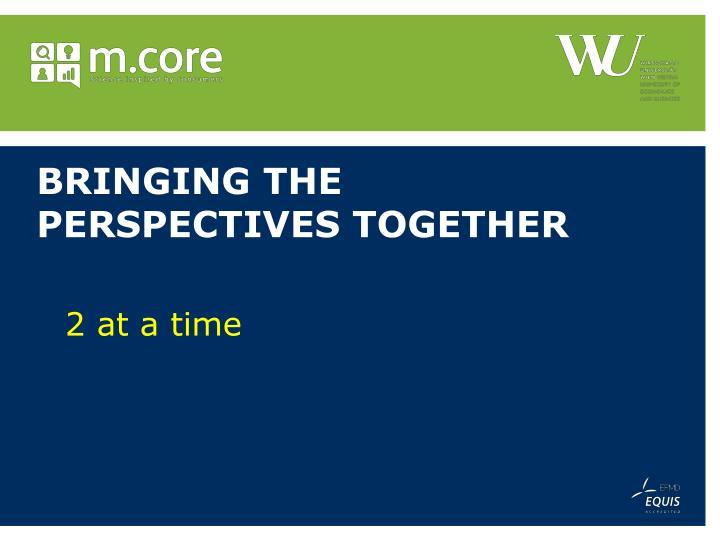 Bringing the perspectives together