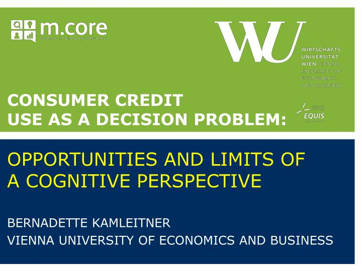 Consumer credit use as a decision problem opportunities and limits of a cognitive perspective